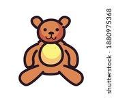 merry christmas teddy bear flat ... | Shutterstock .eps vector #1880975368