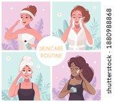 skincare routine concept 4... | Shutterstock .eps vector #1880988868