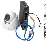 IP security camera, LAN cables and router on white background - stock photo