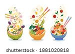 food meal set. hot dishes with... | Shutterstock .eps vector #1881020818