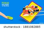 sushi and rolls on the screen... | Shutterstock .eps vector #1881082885