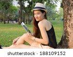 closeup of happy woman using...   Shutterstock . vector #188109152