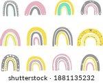 spring rainbows set. hand drawn ...   Shutterstock .eps vector #1881135232