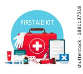 first aid kit  emergency...   Shutterstock .eps vector #1881137518