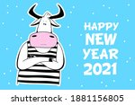 vector ox. hand drawn cute cow. ... | Shutterstock .eps vector #1881156805