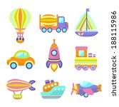 toy transport cartoon icons set ... | Shutterstock .eps vector #188115986