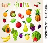 fresh natural fruit set with... | Shutterstock .eps vector #188116106