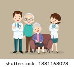elderly care concept doctor and ... | Shutterstock .eps vector #1881168028