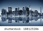 panoramic night view of... | Shutterstock . vector #188125286