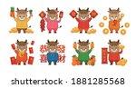 8 chinese zodiac bull mascots... | Shutterstock .eps vector #1881285568