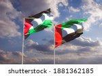 Flags Of Palestine And Uae Arab ...