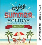 summer beach palm tree vector... | Shutterstock .eps vector #188137136