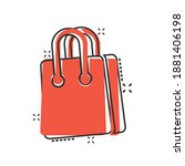 shopping bag icon in comic... | Shutterstock .eps vector #1881406198