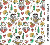 a funny seamless pattern for... | Shutterstock .eps vector #1881446605