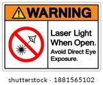 warning laser light when open...   Shutterstock .eps vector #1881565102
