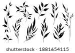 set of silhouette branches with ... | Shutterstock .eps vector #1881654115