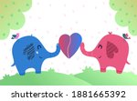 a pair of elephants holding a... | Shutterstock .eps vector #1881665392
