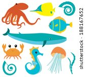 collection of sea animals...   Shutterstock . vector #188167652