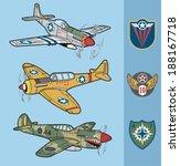 vintage fighter planes set 1 | Shutterstock .eps vector #188167718