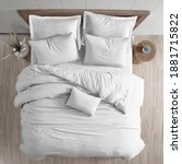 Small photo of White bed duvet cover isolated. Bedroom view from top