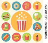 fast food icons set for menu ... | Shutterstock .eps vector #188185592