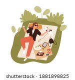 top view of happy young woman... | Shutterstock .eps vector #1881898825
