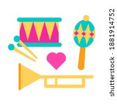 Rattle  Maracas  Drum Icons....