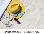 straw hat  towel  sun glasses... | Shutterstock . vector #188207702