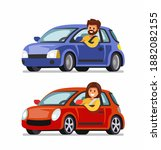 man and woman driving cars | Shutterstock .eps vector #1882082155
