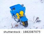 Toy Motorcycle On Snow  Biker...