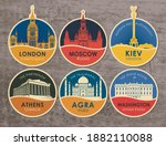 set of stickers with the sights ...   Shutterstock .eps vector #1882110088