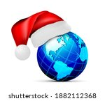 globe in a hat of santa claus ... | Shutterstock . vector #1882112368