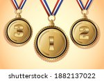 golden medals with three places ...   Shutterstock .eps vector #1882137022