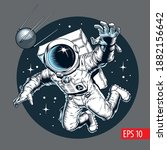 astronaut floating and catches...   Shutterstock .eps vector #1882156642