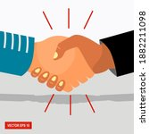 shake hands with business... | Shutterstock .eps vector #1882211098
