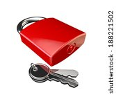 3d render of a padlock and keys ... | Shutterstock . vector #188221502