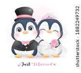 cute doodle penguin with... | Shutterstock .eps vector #1882249732
