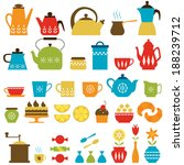 set of tea and coffee things. | Shutterstock .eps vector #188239712