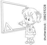schoolgirl writes on the... | Shutterstock .eps vector #188255228