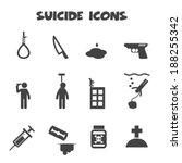 suicide icons, mono vector symbols