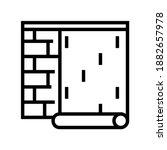gluing wallpapper on brick wall ... | Shutterstock .eps vector #1882657978