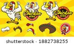 set of cartoon chicken logo... | Shutterstock .eps vector #1882738255