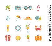 set of beach holiday icons | Shutterstock .eps vector #188287016