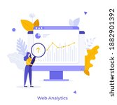 analyst with loupe looking at... | Shutterstock .eps vector #1882901392