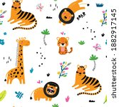 seamless childish pattern with... | Shutterstock .eps vector #1882917145