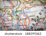 como lake on a road map | Shutterstock . vector #188295362