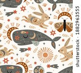 seamless pattern with celestial ...   Shutterstock .eps vector #1882963555