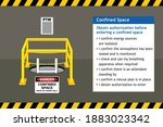 confined space work entry... | Shutterstock .eps vector #1883023342