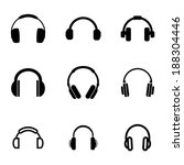 vector black headphone icons... | Shutterstock .eps vector #188304446