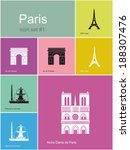 landmarks of paris. set of flat ... | Shutterstock .eps vector #188307476
